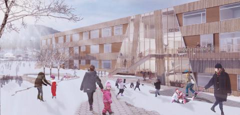 Skisse av Gruben barneskole, som skal stå ferdig høsten 2021.