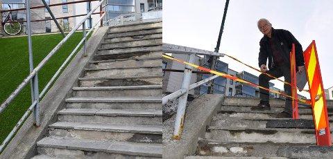 LITT NYTT: Trappa ved Sentrumskvartalet var delvis sperret i vår, og Ole Krokstrand var bekymret for sikkerheten. Nå har trappa fått et lite løft.