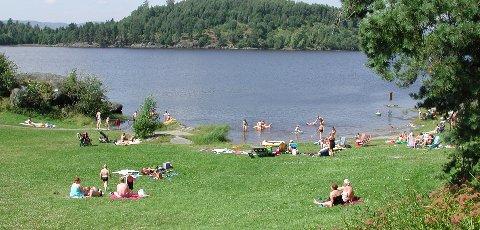 Badeperle: Gansvika frister med både gresslette og sandstrand for de badende. Foto: Line Fredheim Storvik