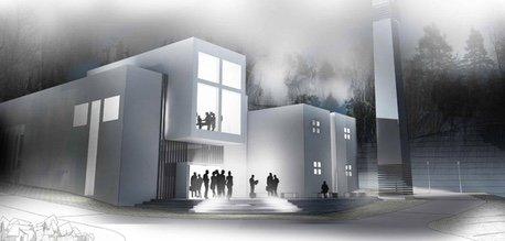 Forslag til hvordan det nye kirkebygget kan bli.