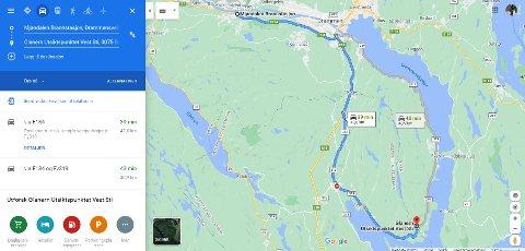 ET STYKKE: Det er drøye 42 kilometer fra brannstasjonen i Mjøndalen og til brannstedet Glaner'n på Berger – tre ganger lenger enn fra Sande til Berger.