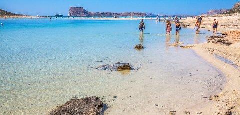 Mange legger høstferien til Kreta. Her ser vi Balos-stranden helt vest på øya.