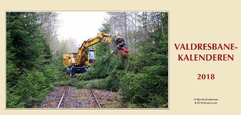 Forsida: Bildet viser  Valdresbanens hjulgraver som driver med vegetasjonsrydding rett nord for Fluberg jernbanebru.