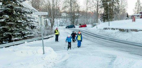 KREVER TILTAK: FAU ved Kroer skole mener skoleveien må gjøres tryggere. Her er Kroerbarn på vei til skolen tirsdag morgen.