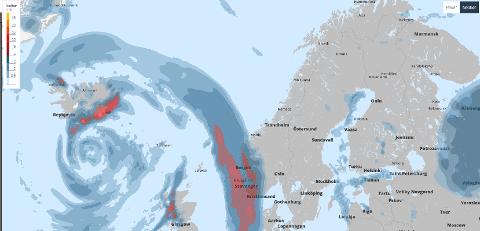 Bildet viser lavtrykket som er på vei over Vestlandet, og som markerer starten på en grå uke. Slik anslår Storm.no at nedbørsmengden vil være klokken 0200 natt til tirsdag.