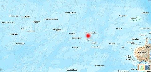 Her ser vi kor Stemneskjersbåen ligg vest av Store-Batalden.