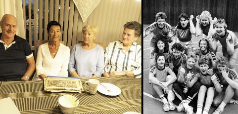 HAMAX: F. v: Rolf Magnussen (69), Berit Borsheim (66), Liv Svendsen (73) og Kirsti Magnussen (65), snakker varmt om samholdet som rådet i bedriftshåndballen. Bildet til høyre er fra 1988, og er tatt like etter de tre kvinnene og resten av håndballjentene på Hamax beseiret Onsøy kommune.