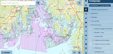 Bildet viser områder med yrkesfiske i Ytre Hvaler nasjonalpark. Skravert i rosa er områder der det fiskes med aktive redskap altså bunntrål. Skravert i grått er passive redskap.