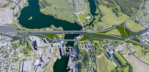 VALGET: Dette blir løsningen for de nye vei- og jernbanebruene over Sarpsfossen – det såkalte MIDT-7 alternativet. Kommunal- og moderniseringsdepartementet tok avgjørelsen fredag. Vedtaket er endelig og kan ikke påklages.