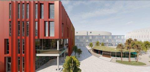 Den nye Frederik II med idrettshall skal bygges sammen med Arena Fredrikstad på FMV Vest. Nå er det klart at skoledelen av det såkalte «Campus»-prosjektet vil bli utsatt med mange år.