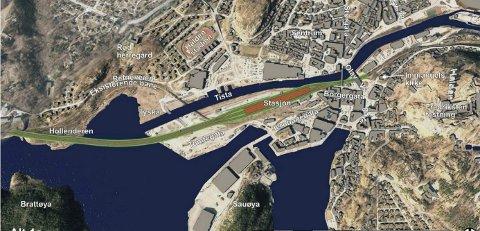 LANG: Alternativ 4a vil komme inn litt lenger fra sørvest enn de øvrige. Togene vil kjøre på ei 600 meter lang bru som vil båndlegge både Hollenderen, Mølen og Tyska. Illustrasjoner: jernbaneverket
