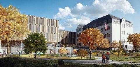 BEHOLDER OS: I forslaget fra Link arkitektur så beholdes dagens Os skole i sitt nåværende utseende og det bygges et helt annerledes nybygg inntil bygget.