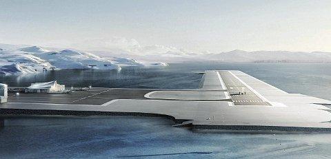 Grøtnes lufthavn: Slik er ny lufthavn tenkt seende ut. Animasjon fra Hammerfest kommune. Foto: ARKIV