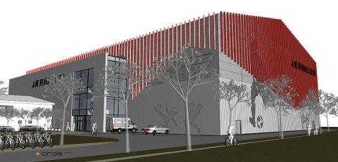 NEI: Slik ser tegningene av den nye hallen som Bryne FK har jobbet med ut. Nå har hallen fått sitt endelige nei av kommunestyret.
