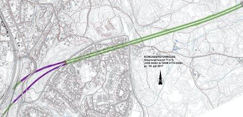 Kongsbergtunnelen: Entreprenøren har kommet 77,4 prosent inn i berget, i retning Tislegård.Tegning: Statens vegvesen