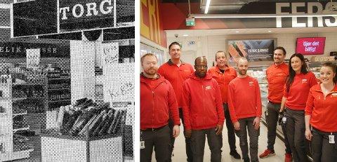Ikke mye minner om butikken fra 1970 når den i dag har jubileum. På bildet til venstre er noen av de som i dag er ansatt og som var på jobb på 50-årsdagen: Ole Magnus Skogheim (til venstre), Daniel Falch, Daniel Habineza, Bjørn Pedersen, Audun Johansson, Jonas Skøyen-Fossan, Anita Friberg og Linda M. Kristoffersen.