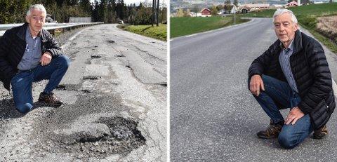 FYLKESVEIER: Fylkesvei 2352 (t.v.) i Vestre Toten er ikke inne på lista over veier som skal asfalteres i Innlandet. Det er derimot fylkesvei 2346 like ved, men i Østre Toten. – Forstå prioriteringen den som kan, sier Ole Kyseth fra Reinsvoll.