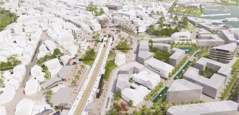 ÅPNER OPP: Se nøye på denne illustrasjonen, for Ketil og Geir foreslår nye kvartaler og gater som får byen til å bli mer samlet. Kongegata-alternativet gir omtrent halvparten så lang togperrong som Indre havn-alternativet.