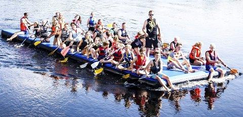 Ringerike Turnforenings konkurranseparti padlet fra Hønefoss Arena til Gladtvet brygge og tilbake til Schjongstangen.