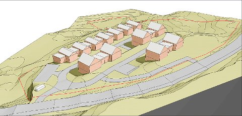 SKISSE: Arkitekt Helle Sjøvåg har laget denne skissen av prosjektet i Langsethveien/Øvre Ekhaugen