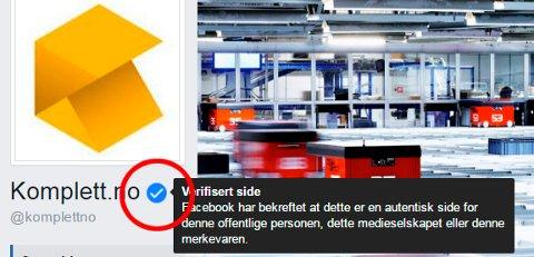 EKTE: Slik ser du at en side på Facebook er verifisert av Facebook.