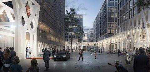 MØTESTED: EINAR GERHARDSENS PLASS: Kjernen i regjeringskvartalet er Einar Gerhardsens plass. (Illustrasjon: Team G8+)