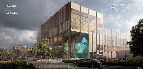 Tegning av «Campus» som vant arkitektkonkurransen. Foran ser vi fasaden/inngangspartiet til den planlagte flerbrukshallen. (Foto: LINK Arkitektur/Griff Arkitektur)