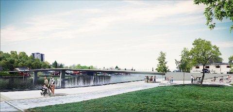 Den tiltenkte gang- og sykkelbrua i Porsgrunn. Med kun et anbud inne til nærmere 200 millioner kroner, må det tenkes nytt for å tiltrekke flere utbyggere, forteller bygge- og eiendomssjef Ole Henrik Lia i Porsgrunn.
