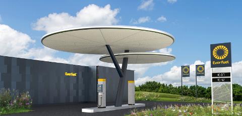 Slik ser man for seg at Everfuel-stasjonene vil bli seende ut. Selskapet som står for utrullingen befinner seg i startfasen. De vurderer å bygge en av stasjonene på Grenstøl.