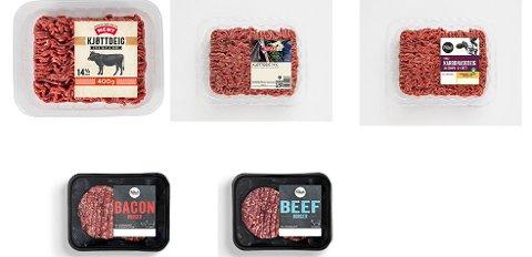 KALLES TILBAKE: NorgesGruppen tilbakekaller enkelte holdbarheter av karbonadedeig, kjøttdeig og burgere merket med Folkets, Meny, Spar og Kiwi, etter funn av salmonella. Alle produktene er utgått på dato, men forbruker kan likevel ha disse i fryseren. Foto: NorgesGruppen / NTB