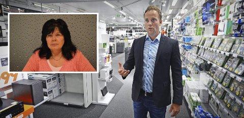 IMOT: Grethe Berntsen i Handel og Kontor (innfelt) opplyser at samtlige organiserte Expert-ansatte i hennes distrikt er imot grepene til Expert-sjef Anders Nilsen og resten av ledelsen i Expert.