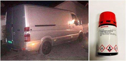 BIL NUMMER 26: I denne varebilen som ble stjålet fra Lørenskog stasjon var det en beholder med det livsfarlige stoffet cyanid. Foto: Politiet