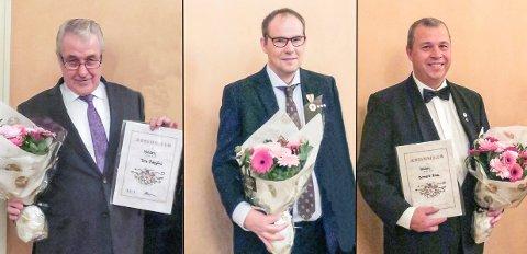 ÆRESMEDLEMMER: Tore Ødegård (f.v.), Svein-Arne Hansen og Bernard Kilde har lagt med en stor innsats i Halden Røde Kors over flere år og ble hedret på årsmøtet og 100-årsmarkeringen til lokalavdelingen.
