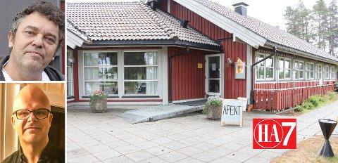 VIL DRIVE: Kirkens Bymisjon ved Trond Henriksen (tv) og administrativ leder Lasse Imrik tilbyr seg å drive Furulund Kafé. Fotomontasje.
