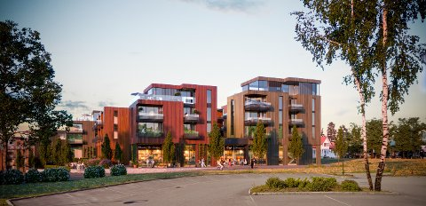 Det blir ingen dagligvarebutikk i Sentrumshagen, som skal bygges i Aursmoen sentrum. Illustrasjon: Rift