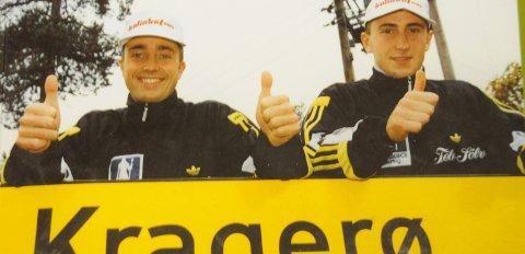 På toppen: Fredrik Brubakken og Simen Muffetangen under glansperioden med Kragerø.Arkivfoto: Per Eckholdt