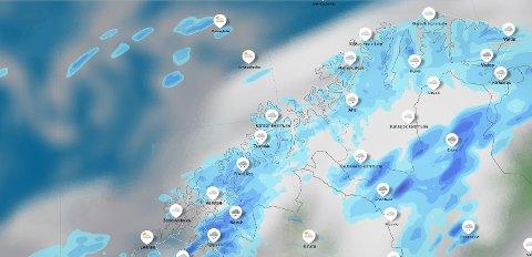 NEDBØR: Lørdag og søndag blir det en del nedbør i Troms, enten i form av snø eller regn.