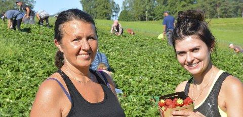ARBEIDSKRAFT: Joanna og Kamilla, to av jordbærplukkerne hos Rune Hagelund som har et overordnet ansvar for jordbæra som leveres. Joanna har vært i Ringsaker og plukket bær i over 20 år.