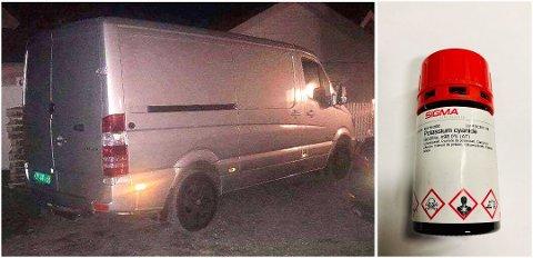 STJÅLET: Denne varebilen ble stjålet fra Lørenskog stasjon i midten av februar. Inne i bilen var det en beholder med det livsfarlige stoffet cyanid. Beholderen kom til rette i begynnelsen av mars. Foto: Politiet