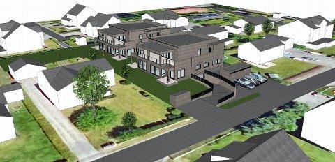 NYGÅRDSVEIEN 53: Slik vil de seks nye leilighetene ta seg ut mellom villaene i Bugården. (Illustrasjon: Mesterbygg Vestfold)