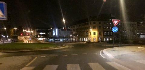 Krysset mellom Jernbanegate Sverresgate i Porsgrunn.