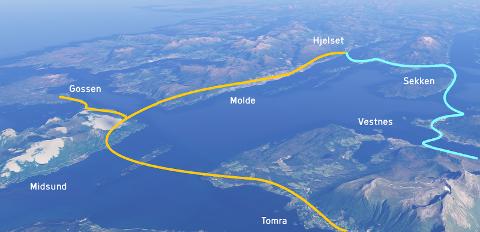 Møreaksen i oransje vs. Romsdalsaksen i lyseblå