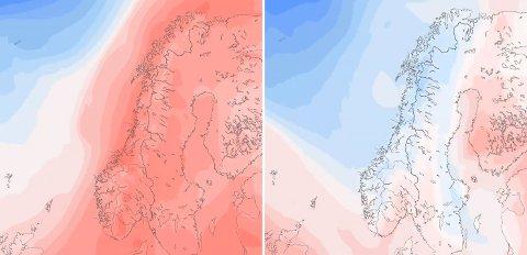 Kartet til venstre viser temperaturene i Norge på tirsdag, mens bildet til høyre viser det samme for kommende torsdag. Kalde luftstrømmer kommer inn mot kysten fra tirsdag kveld og utover onsdagen. Det gir kraftige fall i temperaturen mange steder.