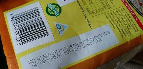 Famous Food AS stanser salget av Indian Sun Basmati Rice, Classic Pearl, med lotnummer 7156 merket best før 01/2021. Laboratorieanalyser viser funn av to plantevernmidler over grenseverdi; tricyclazole og Triazofos. Foto: Mattilsynet / NTB scanpix
