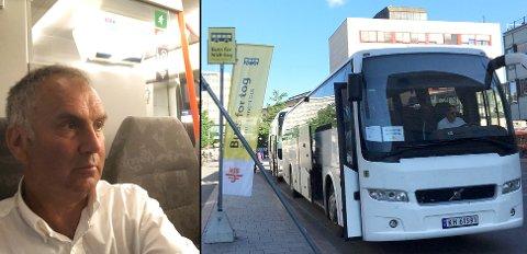 PASSASJER: Ole Kristian Bjerkemo har tatt både tog og taxi for å nå bestemmelsesstedet mandag. Andre passasjerer ble loset over til buss.