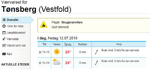 ØKENDE: Farenivået for skogbrann er økende på Østlandet, og i Tønsberg er det nå på gult hvor rødt er høyeste.