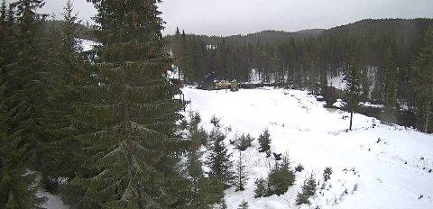 SKIFØRE:Slik ser det ut på Brovoll, nord på Romeriksåsen, akkurat når, fredag klokka 13.30.