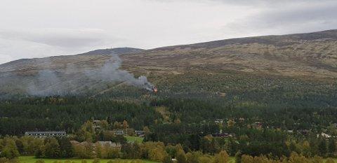 Brann i hytte i Hummelfjell. Foto: Privat