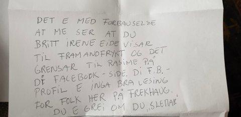 Slik var brevet Eide fann i postkassen.