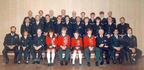 MANGE: Da Råde Musikkorps var et stort korps. Bildet er fra 1987.